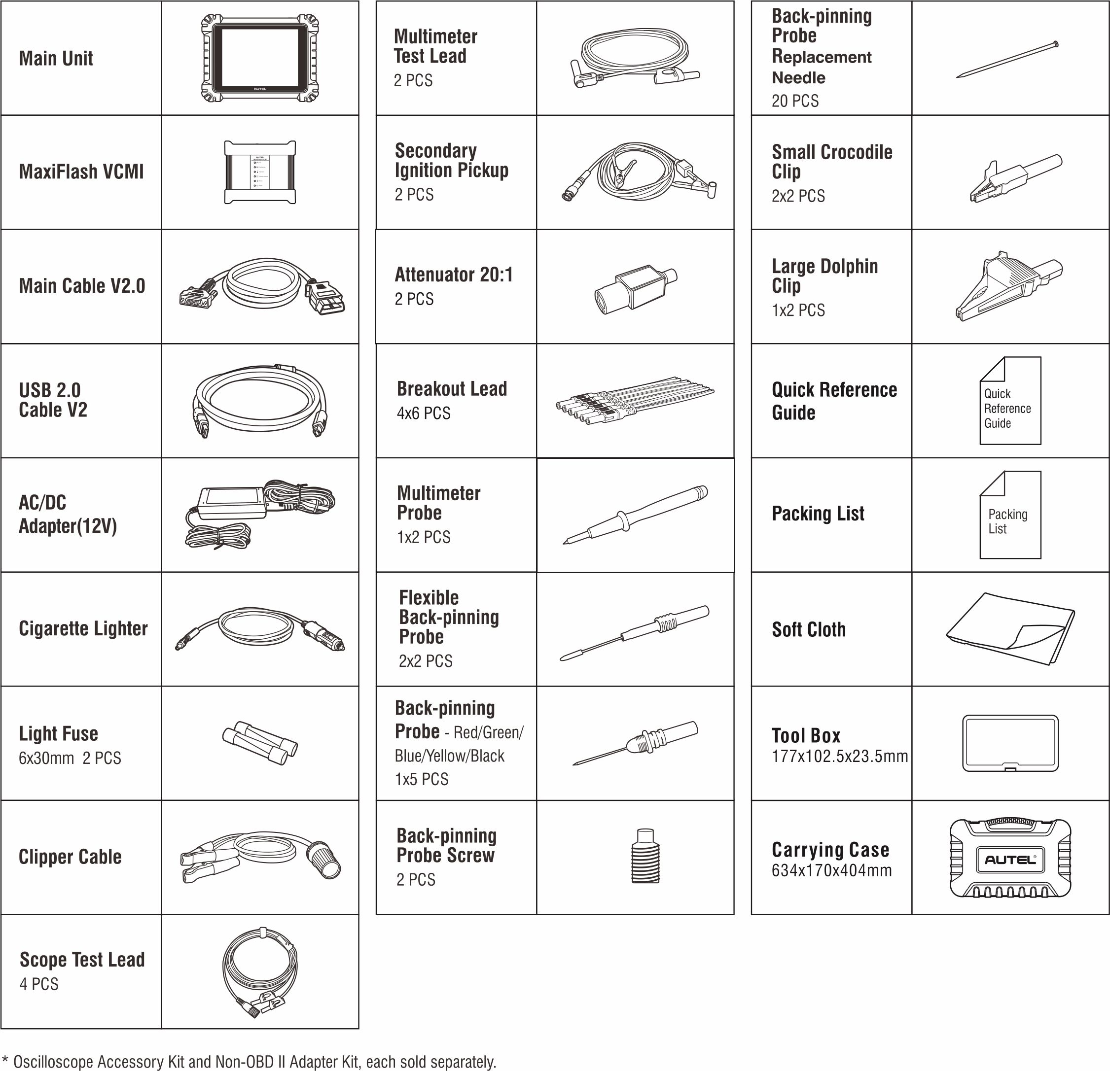MaxiSYS MS919 Accessory List
