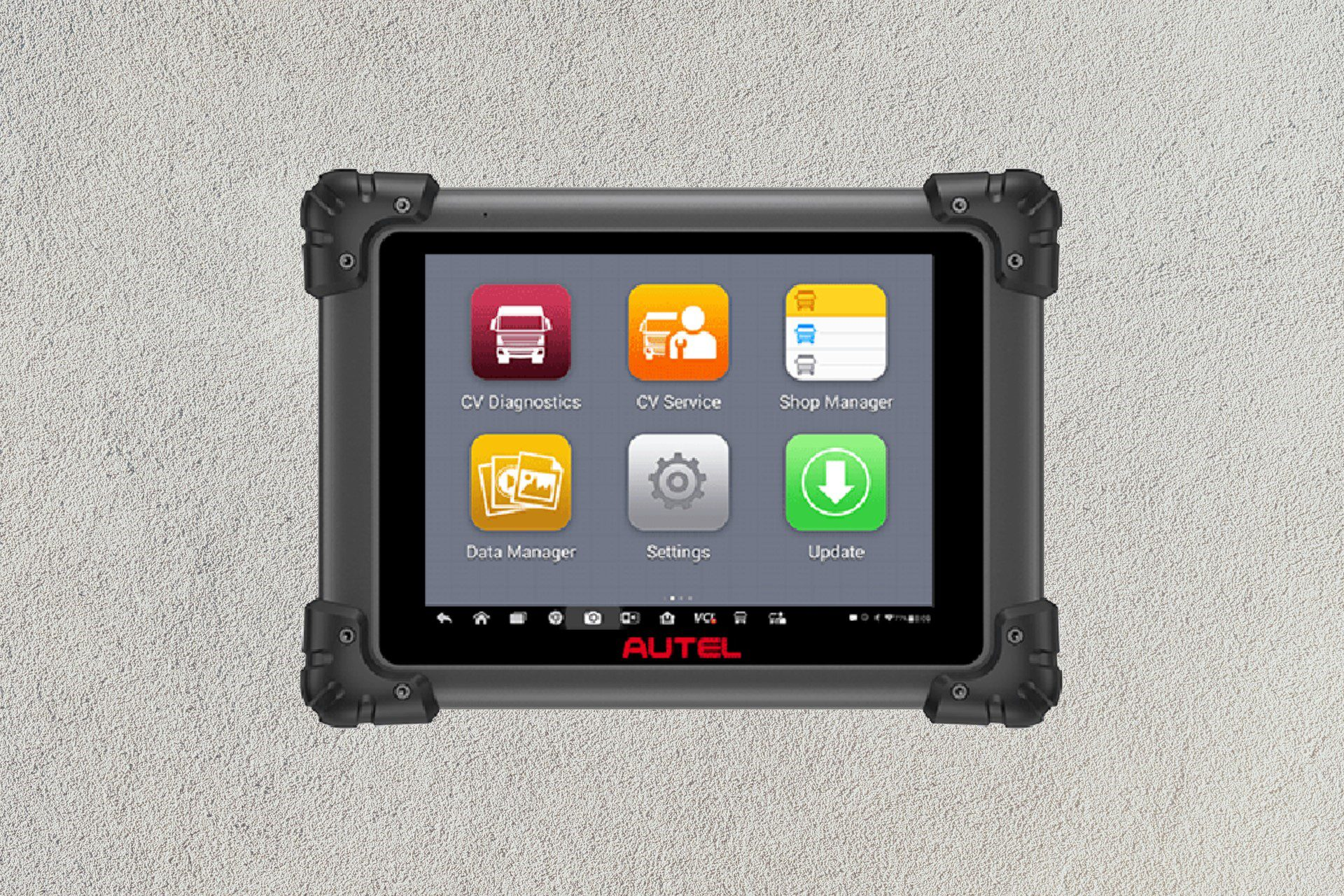 Autel MaxiSYS MS908CV on a tablet over a grey background